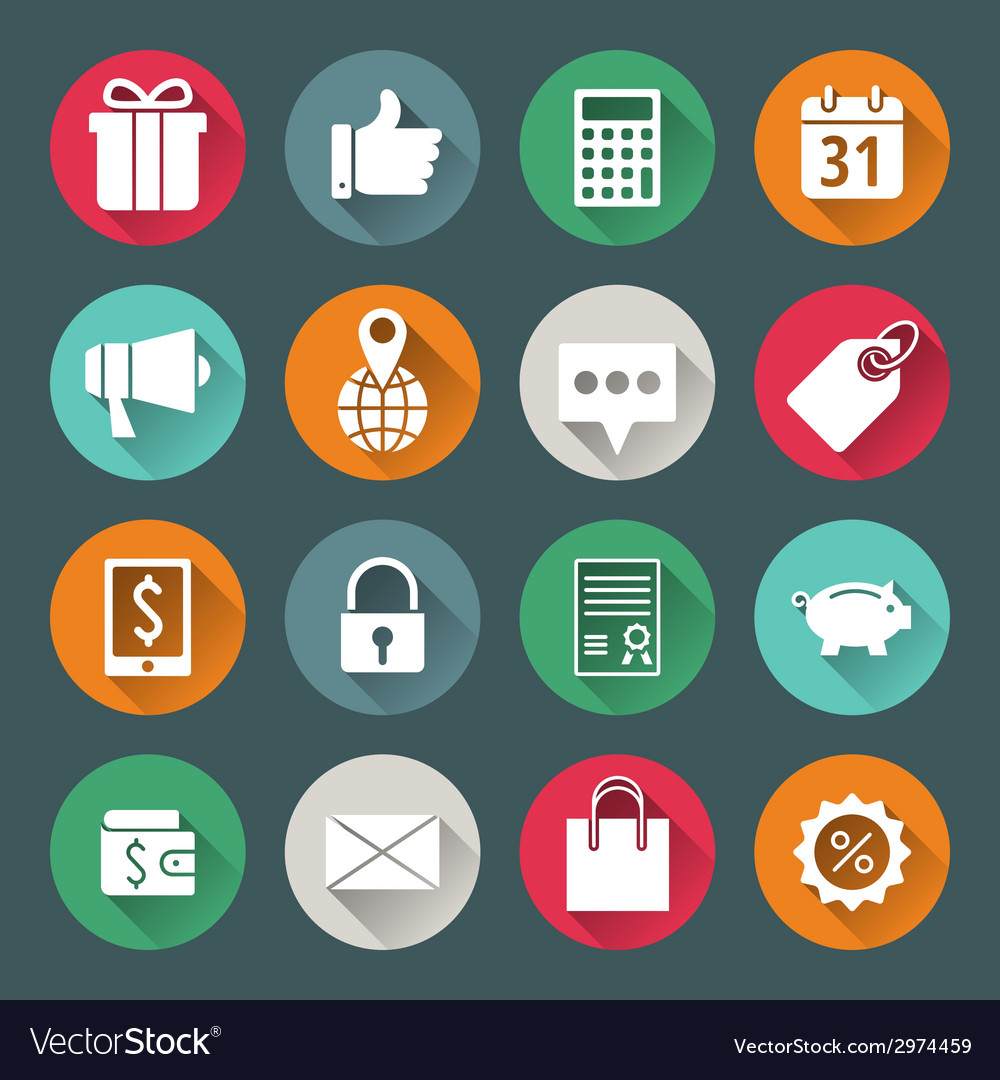 Business and commerce flat design icons set vector   Price: 1 Credit (USD $1)
