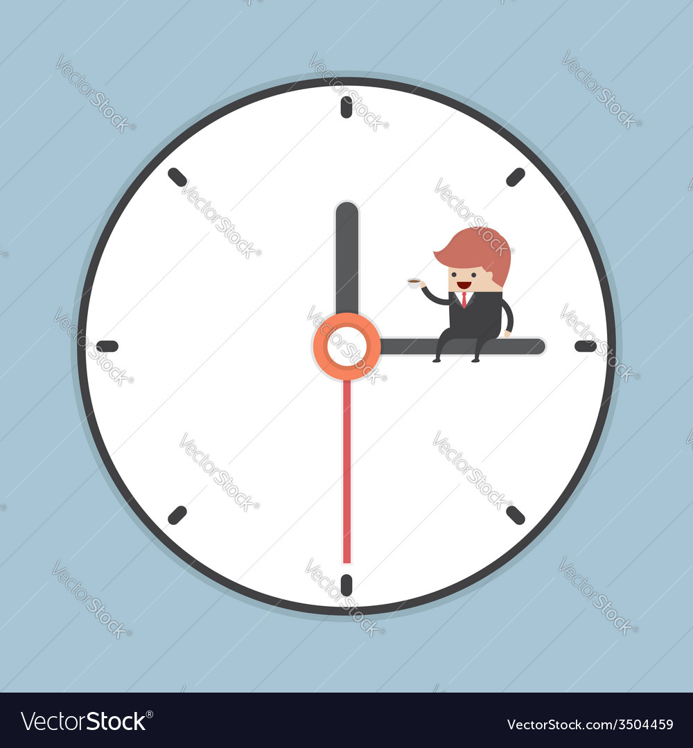 Businessman sitting on minute hand of clock with a vector   Price: 1 Credit (USD $1)