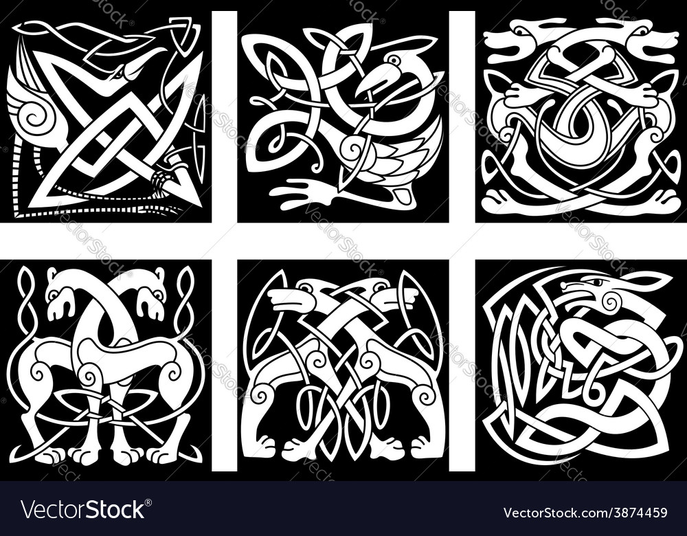 Celtic animals decorated irish ornament vector | Price: 1 Credit (USD $1)