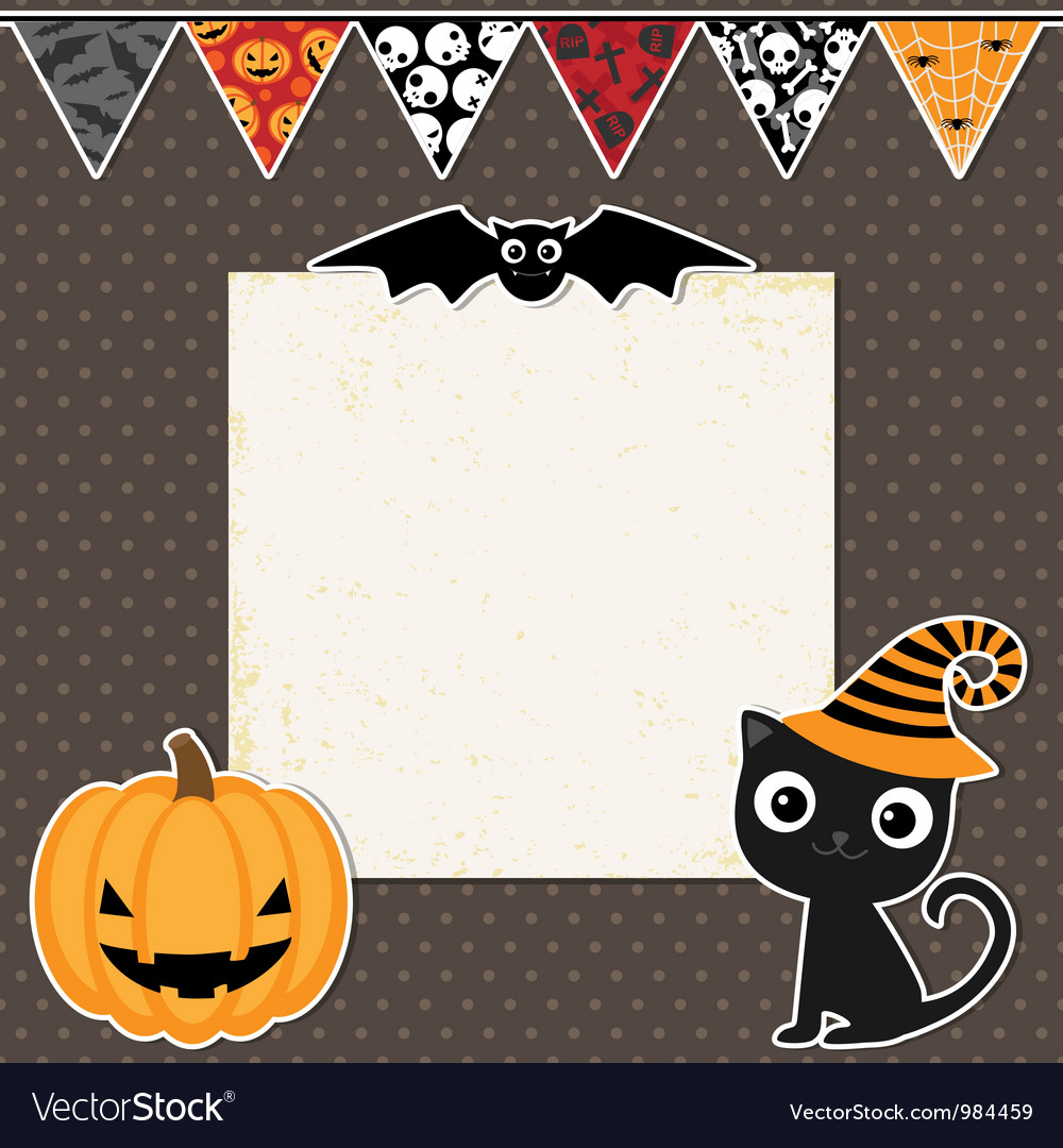 Cute halloween party card vector | Price: 1 Credit (USD $1)