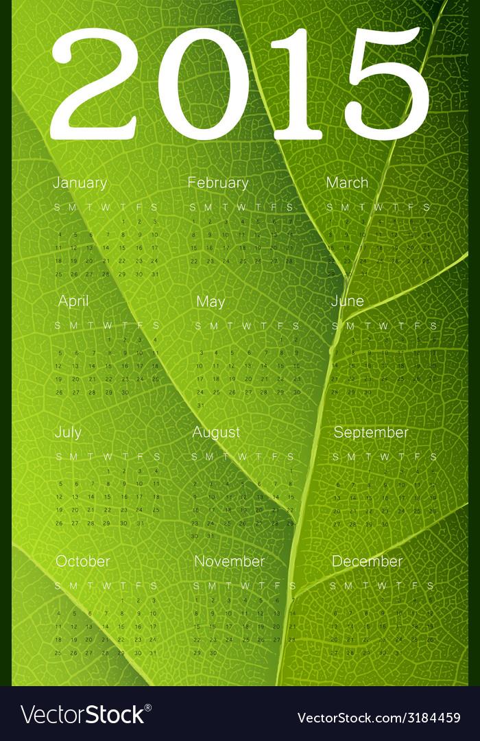 Ecology themed calendar 2015 vector | Price: 1 Credit (USD $1)