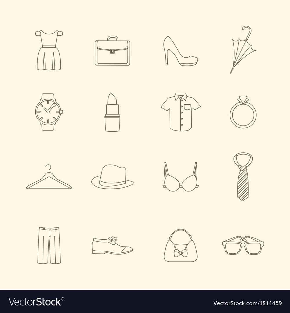 Fashion and clothes accessories icons vector | Price: 1 Credit (USD $1)