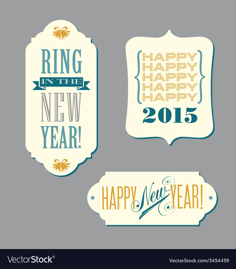 Happy new year vintage typography designs vector | Price: 1 Credit (USD $1)