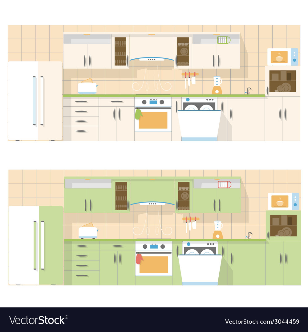 Kitchen overlooking the front in a flat layout vector | Price: 1 Credit (USD $1)