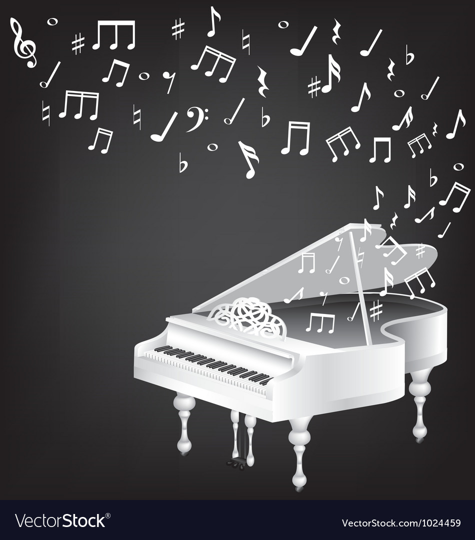 Music card with white grand piano and notes vector | Price: 1 Credit (USD $1)