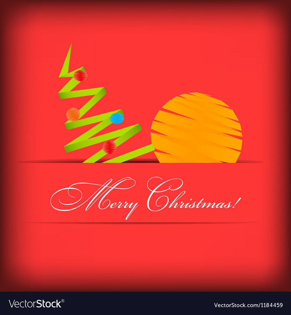 Paper card with christmas tree vector | Price: 1 Credit (USD $1)