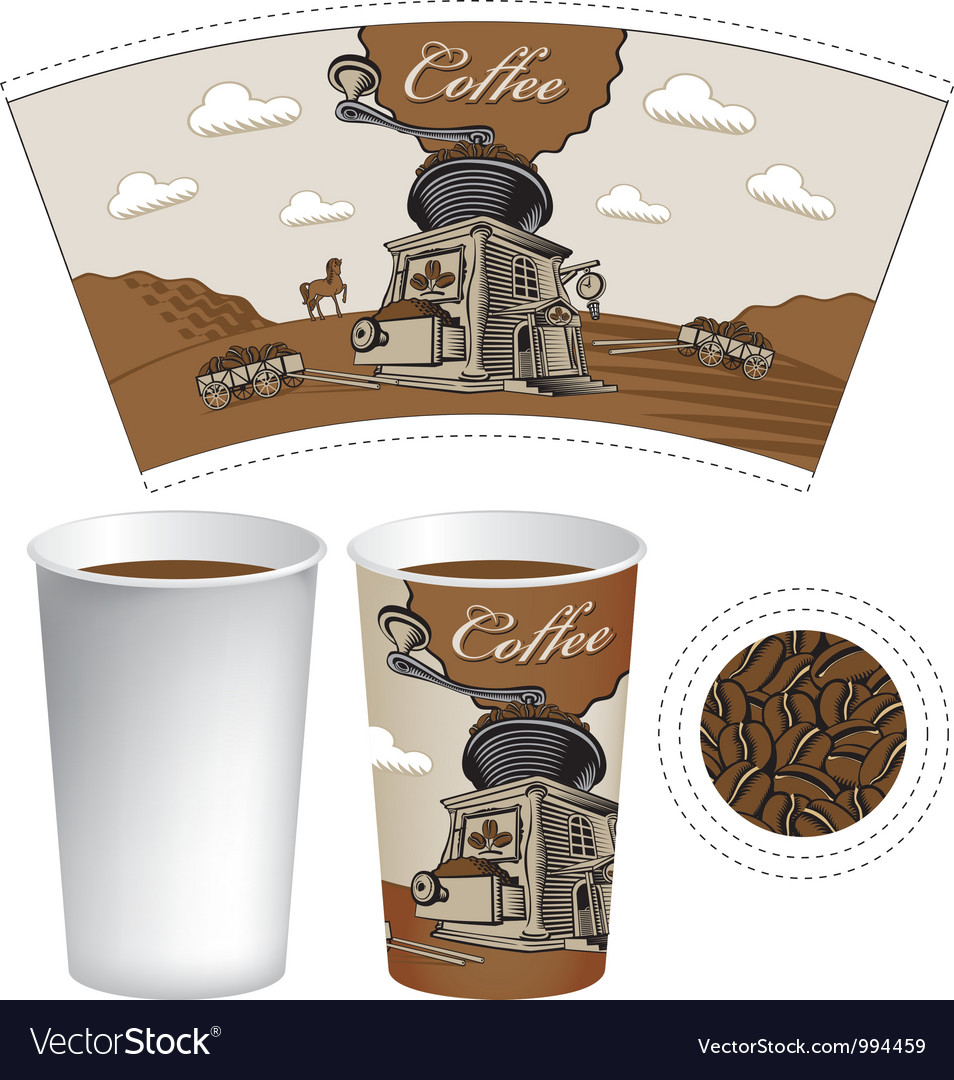 Plans for a cup vector | Price: 1 Credit (USD $1)