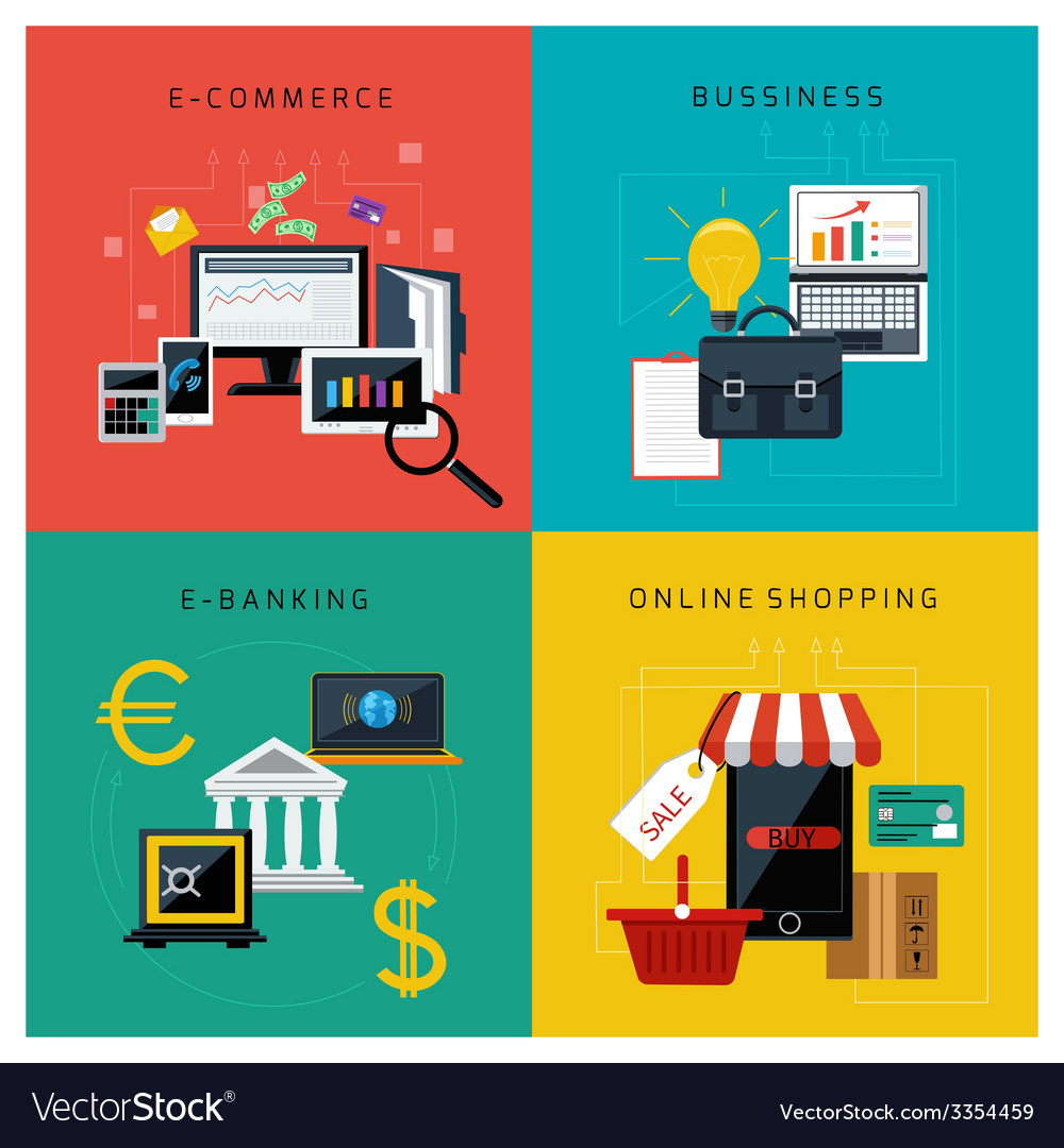 Set of concept icons for online business vector | Price: 3 Credit (USD $3)