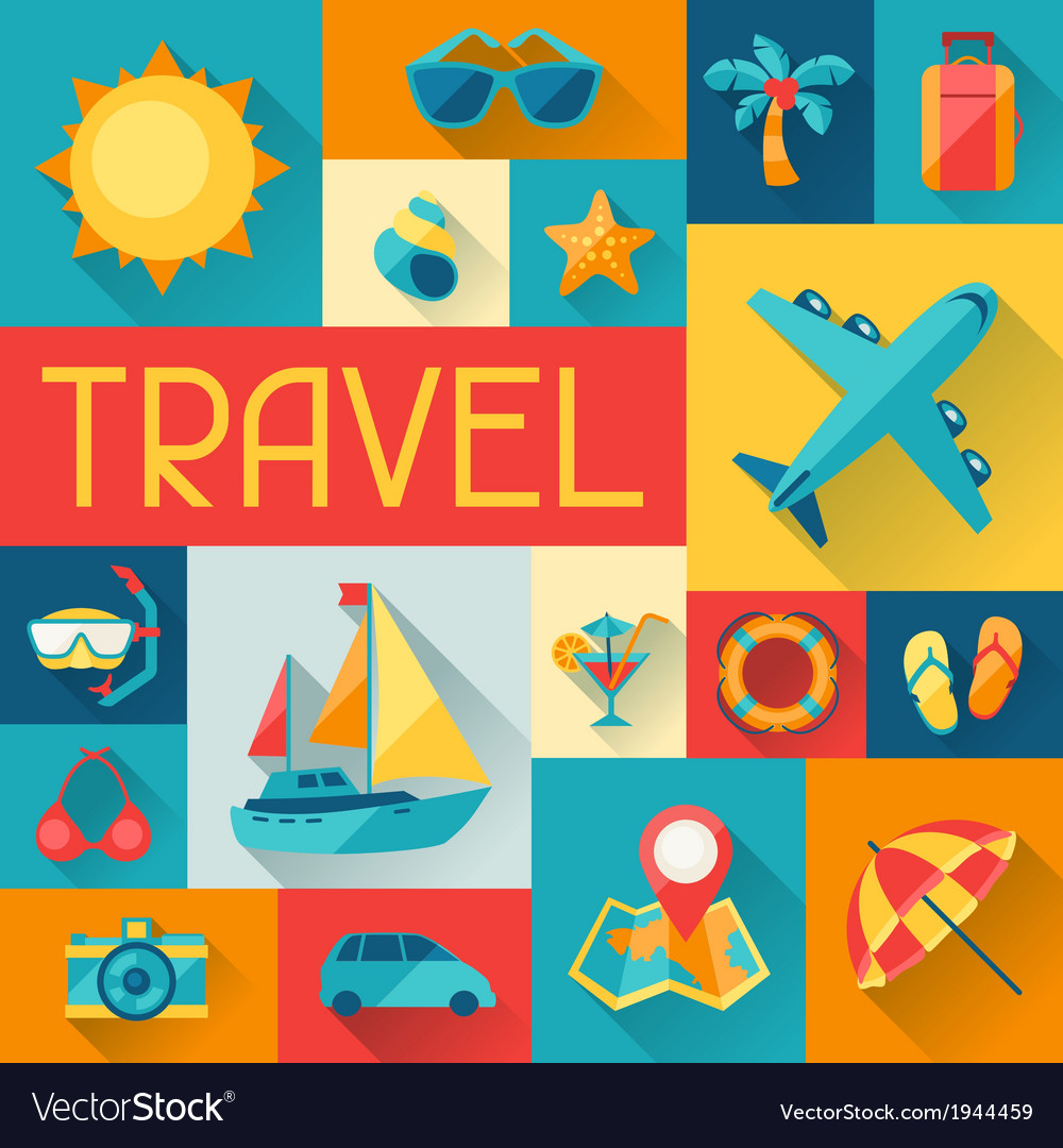 Travel and tourism background in flat design style vector | Price: 1 Credit (USD $1)