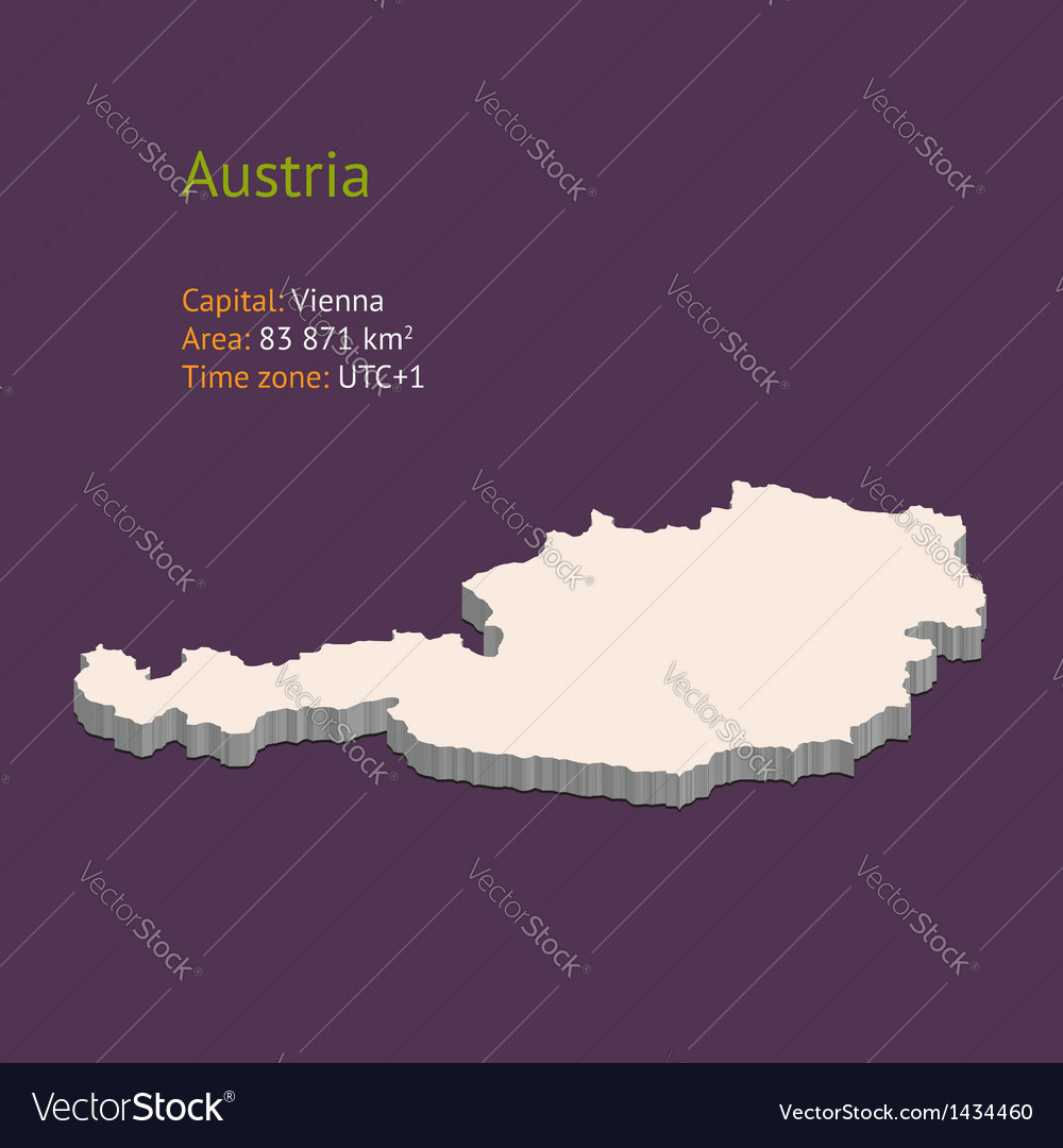 3d map of austria vector | Price: 1 Credit (USD $1)