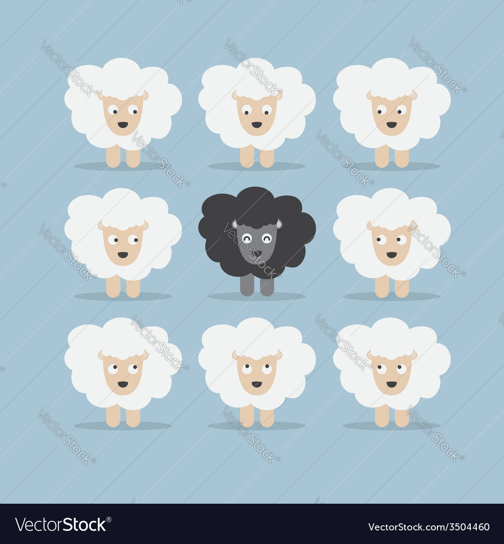 Black sheep in the crowd vector | Price: 1 Credit (USD $1)