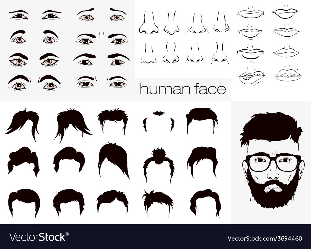 Elements of a person face men vector | Price: 1 Credit (USD $1)