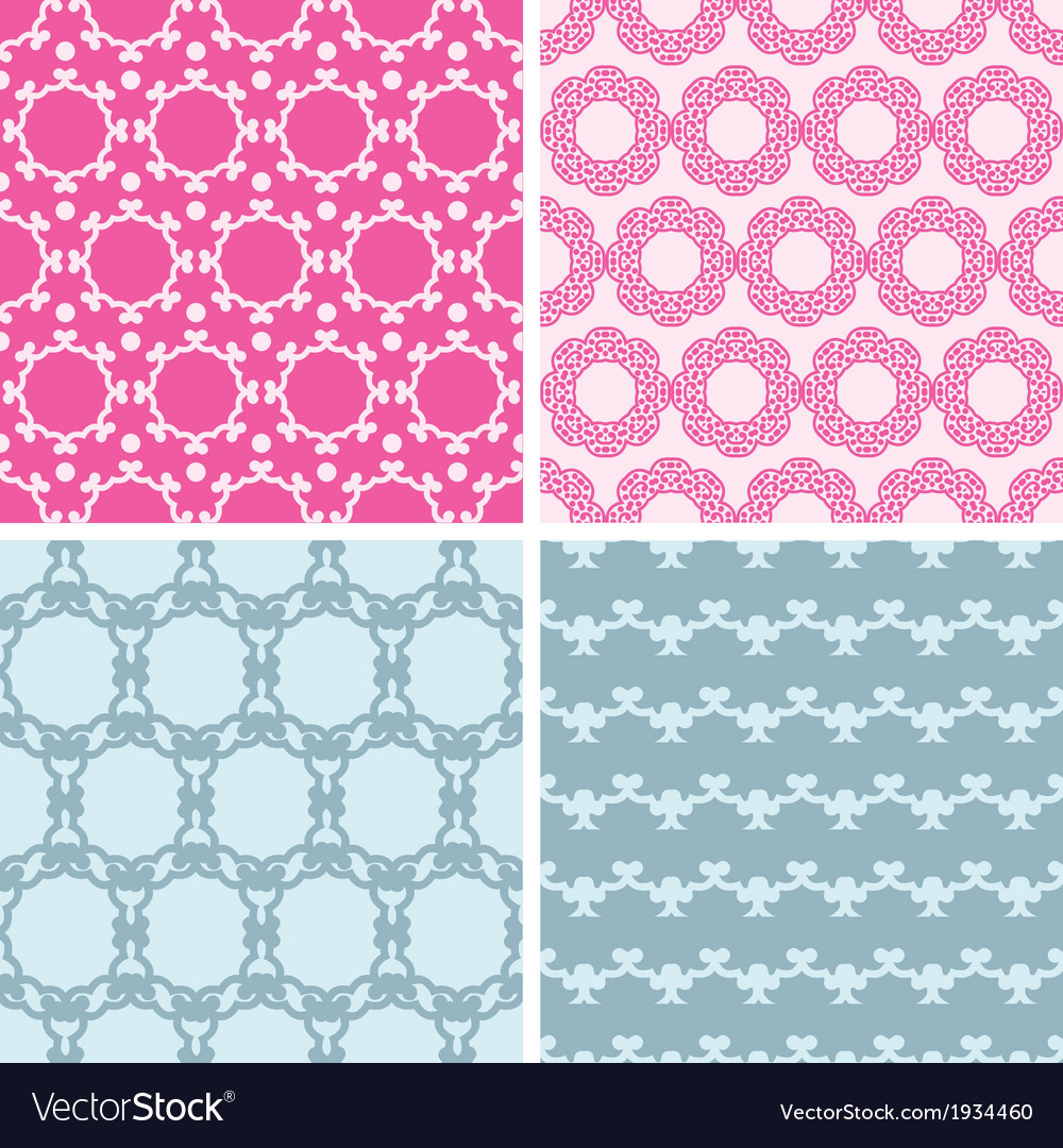Four abstract chain motives seamless patterns set vector | Price: 1 Credit (USD $1)