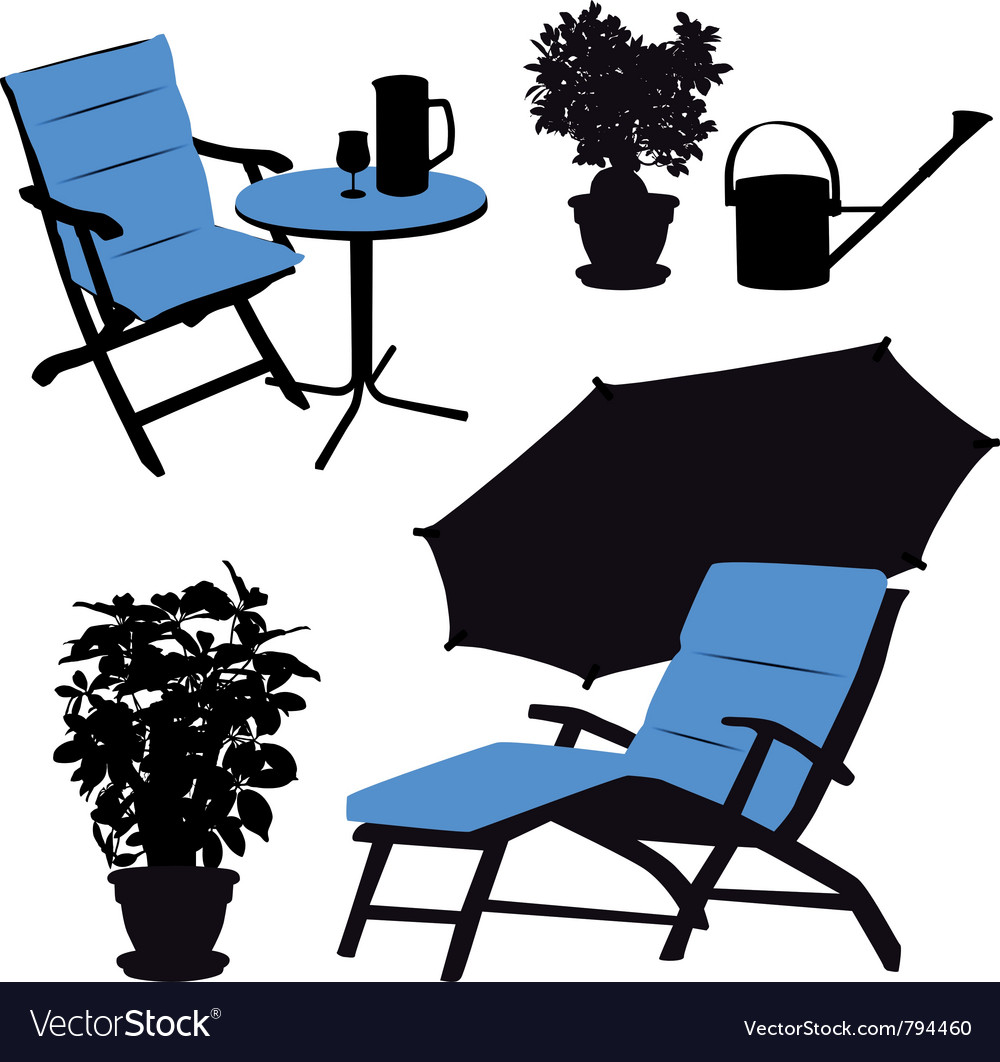 Garden furniture silhouettes vector | Price: 1 Credit (USD $1)