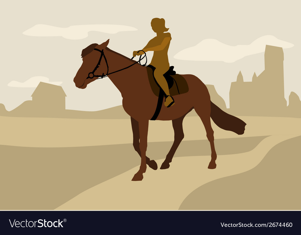 Girl on horseback silhouette vector | Price: 1 Credit (USD $1)