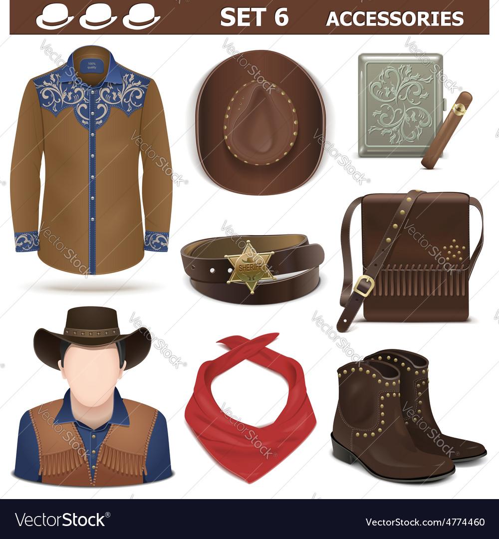 Male accessories set 6 vector
