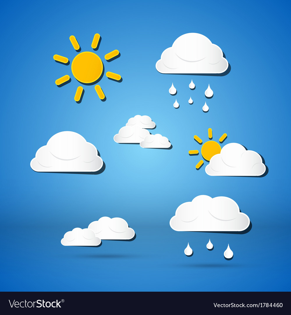 Paper weather icons - clouds sun rain on blue vector | Price: 1 Credit (USD $1)