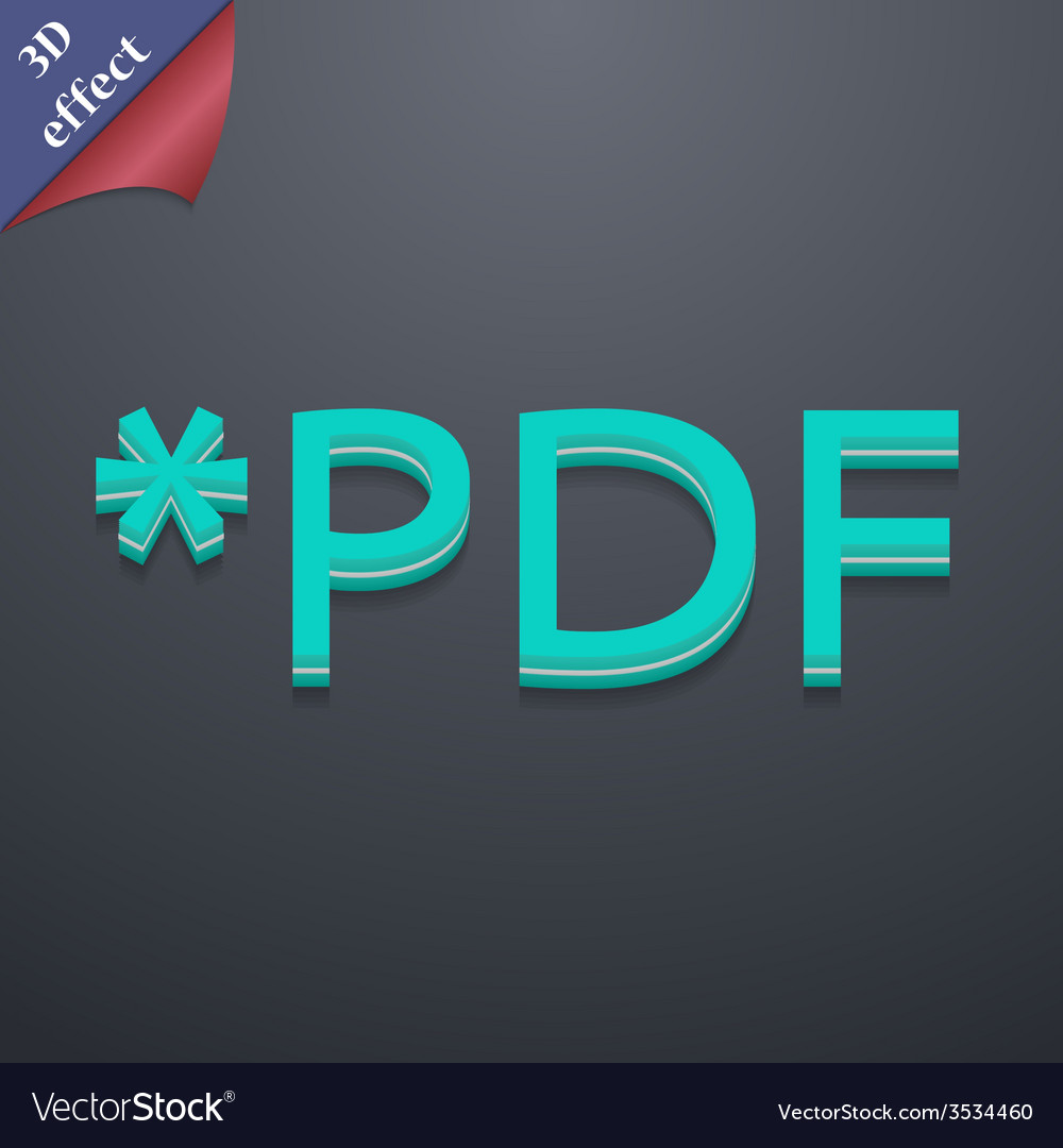 Pdf file extension icon symbol 3d style trendy vector | Price: 1 Credit (USD $1)
