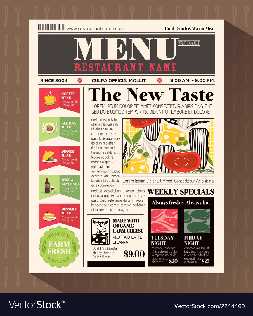 Restaurant menu design template in newspaper style vector | Price: 1 Credit (USD $1)