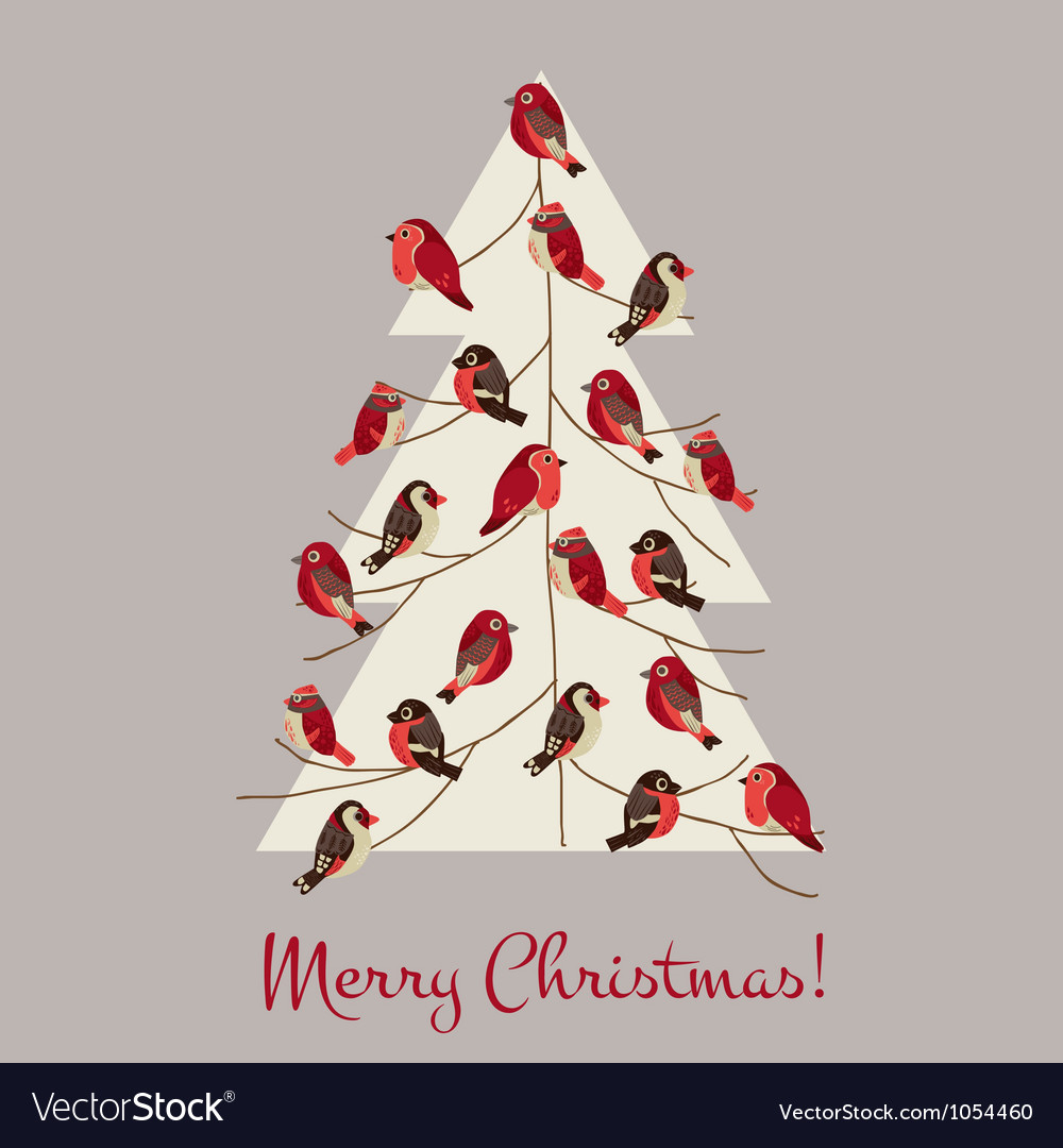 Retro christmas card - winter birds on christmas t vector | Price: 1 Credit (USD $1)