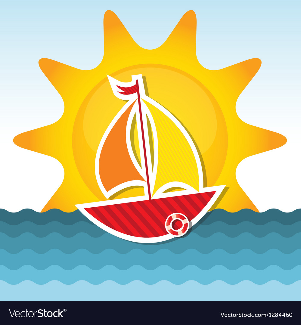 Sailing boat on the sea vector | Price: 1 Credit (USD $1)
