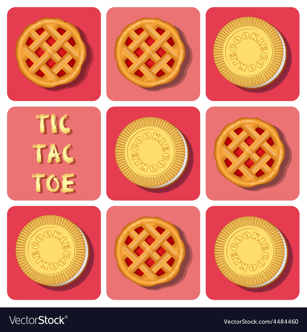 Tictactoe of cookie and strawberry pie vector