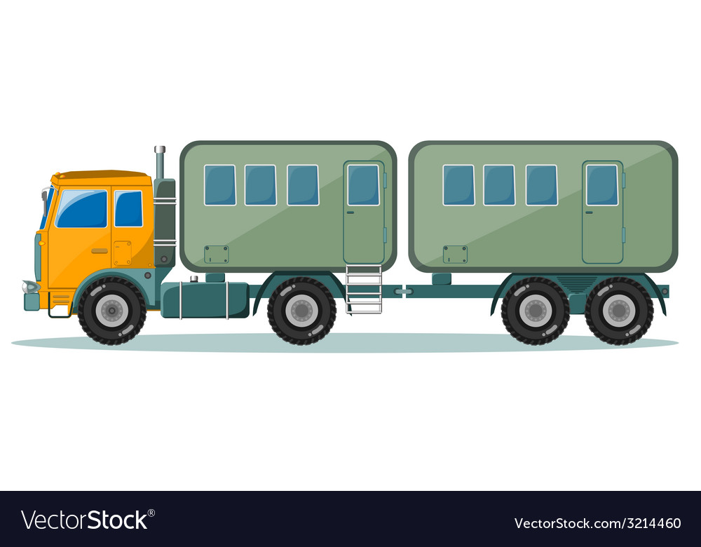 Truck with trailer to transport people vector | Price: 1 Credit (USD $1)
