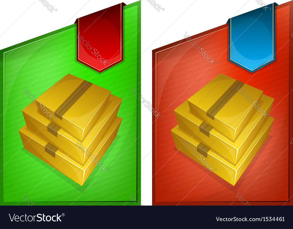 Abstract web banner with pile of parcel vector | Price: 1 Credit (USD $1)