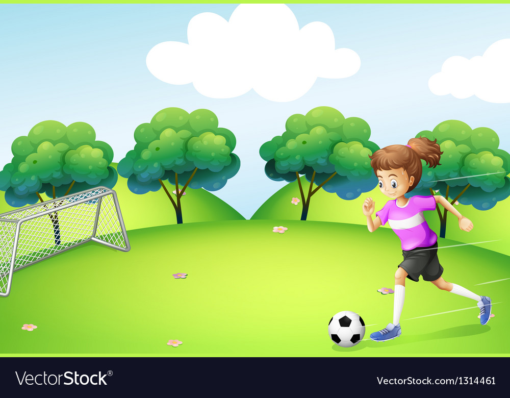 An athletic girl playing soccer vector | Price: 1 Credit (USD $1)