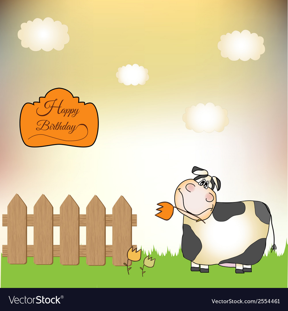 Birthday card with cow vector | Price: 1 Credit (USD $1)