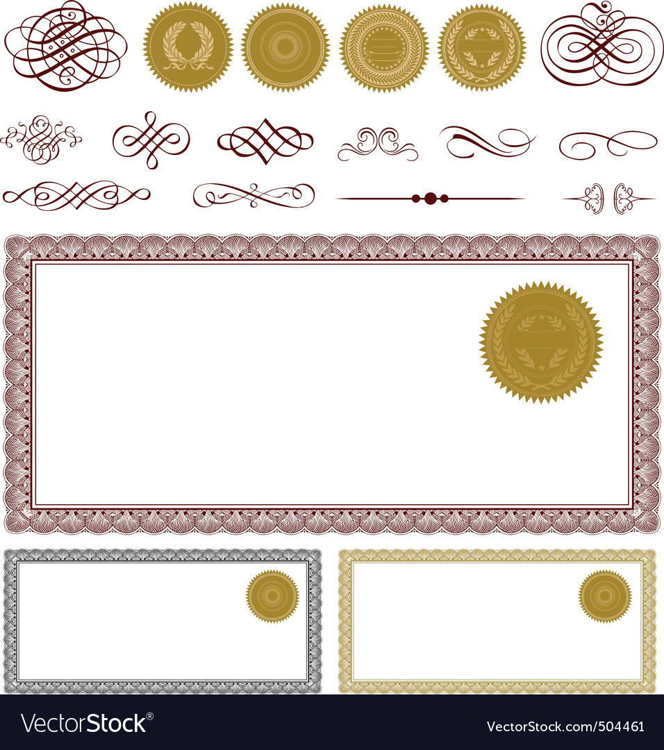 blank certificate frame set vector | Price: 1 Credit (USD $1)