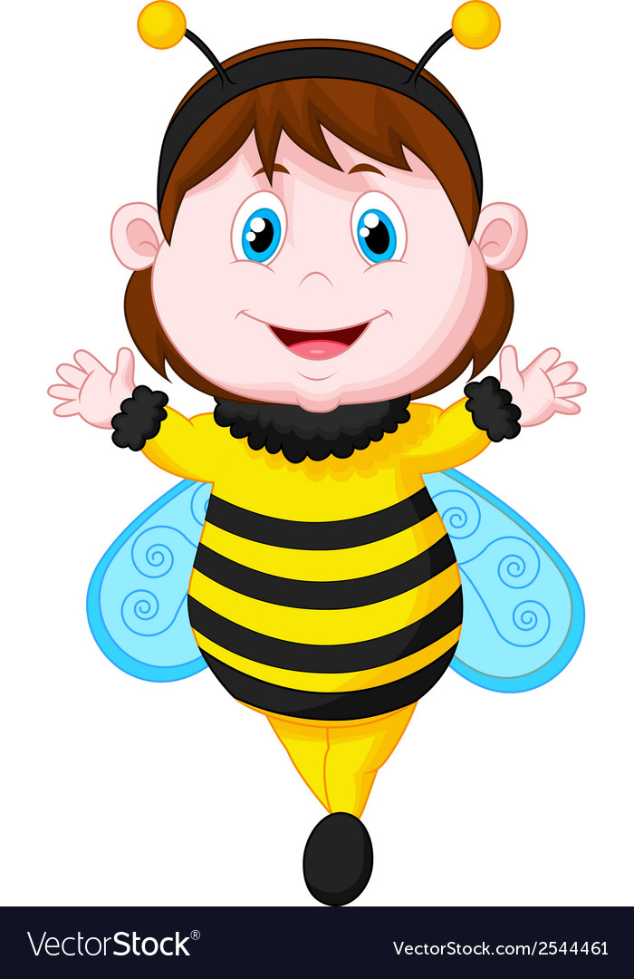 Cartoon little girl dressed as bee vector | Price: 1 Credit (USD $1)