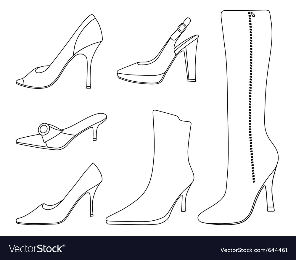 Collection of women shoes vector | Price: 1 Credit (USD $1)