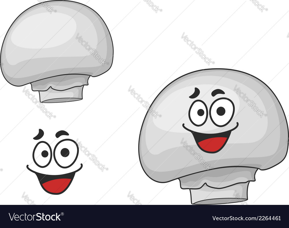 Happy edible white champignon mushroom vector | Price: 1 Credit (USD $1)