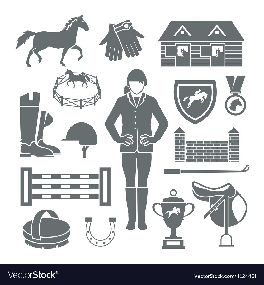 Jockey icons black vector | Price: 1 Credit (USD $1)