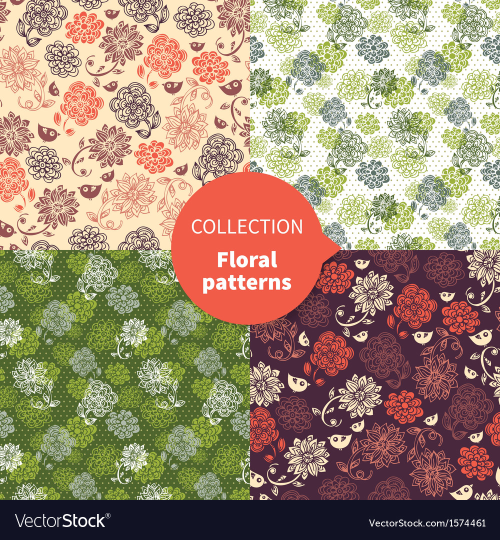 Seamless floral pattern set vector | Price: 1 Credit (USD $1)