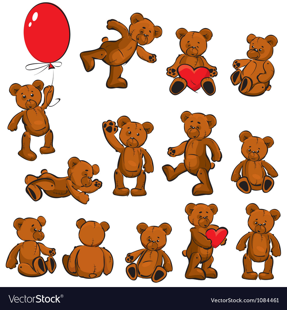 Set of vintage soft toys - teddy bears vector | Price: 3 Credit (USD $3)