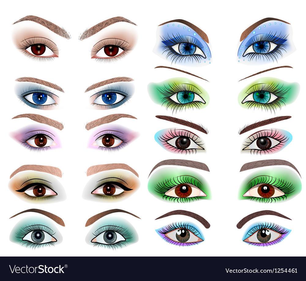 Set of womens eyes with a different makeup vector | Price: 1 Credit (USD $1)