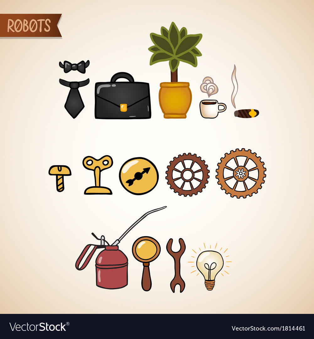 Steampunk technology icons set vector | Price: 1 Credit (USD $1)