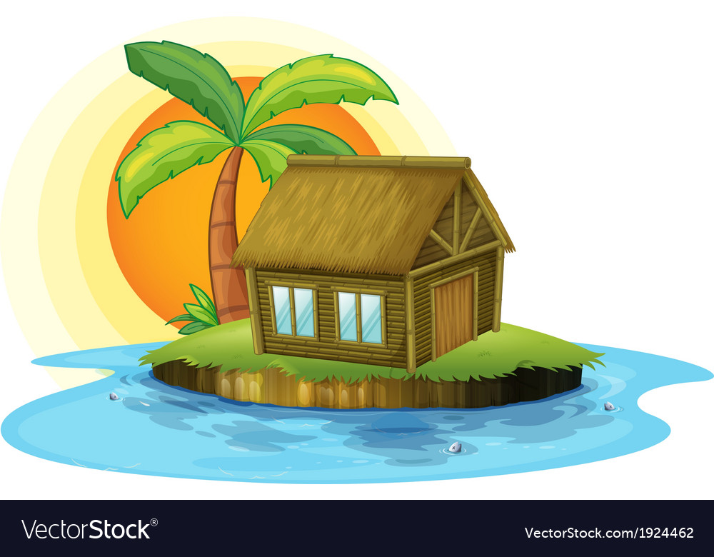 An island with a bamboo house vector | Price: 3 Credit (USD $3)