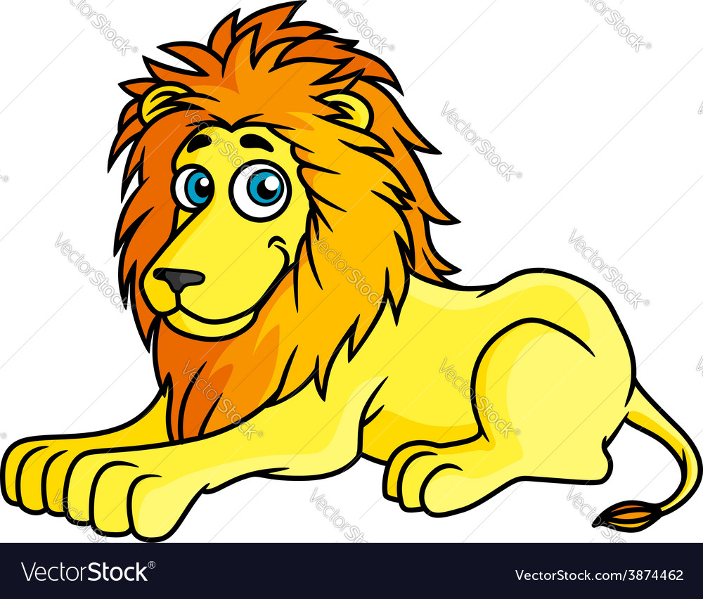 Cartoon yellow lion lies on front paws vector | Price: 1 Credit (USD $1)