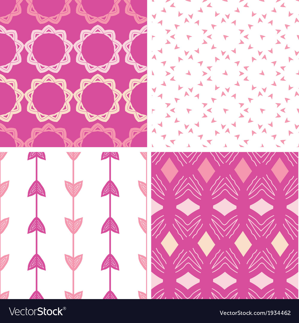 Four abstract geometric pink seamless patterns set vector | Price: 1 Credit (USD $1)