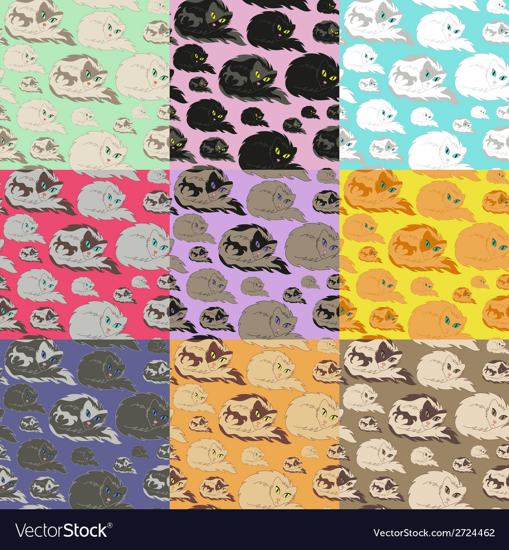 Lying cat seamless pattern vector | Price: 1 Credit (USD $1)