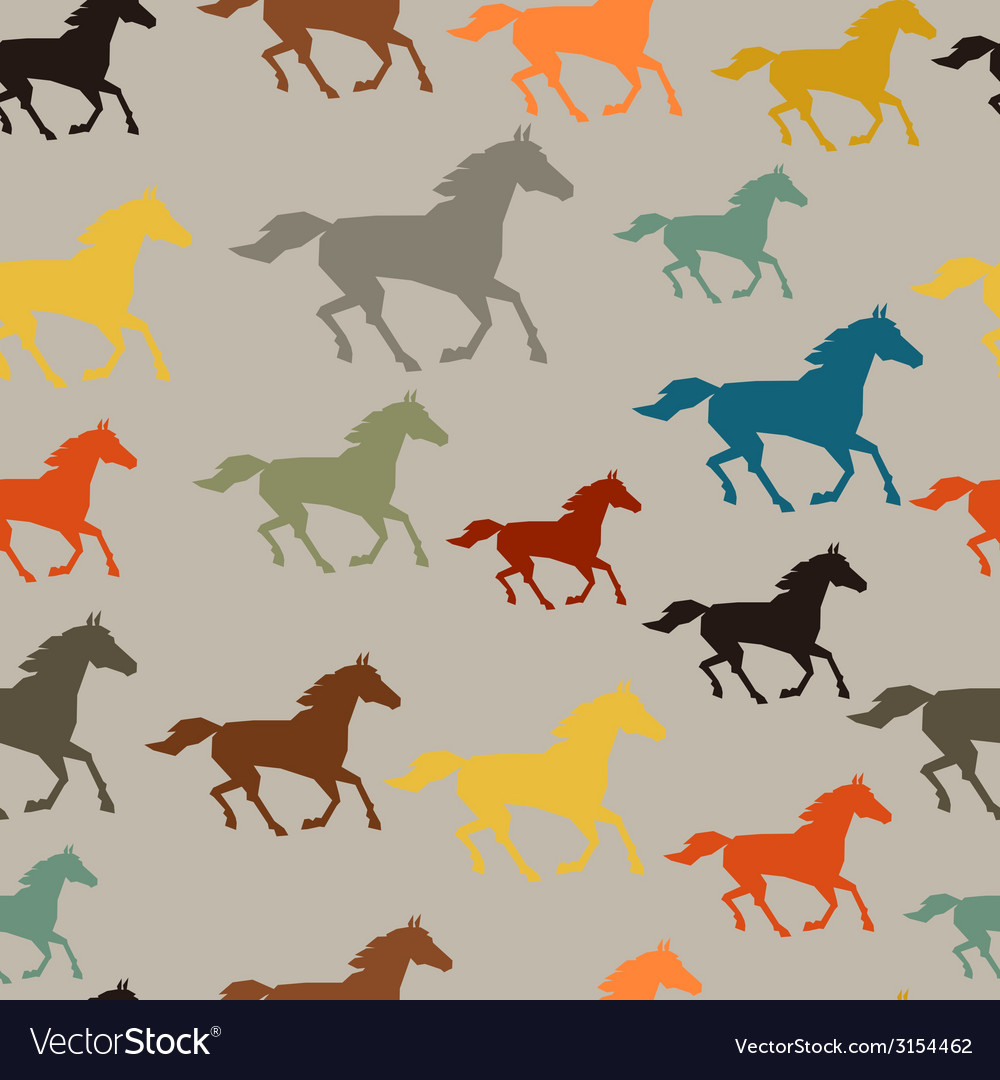 Seamless pattern with horse running in flat style vector | Price: 1 Credit (USD $1)
