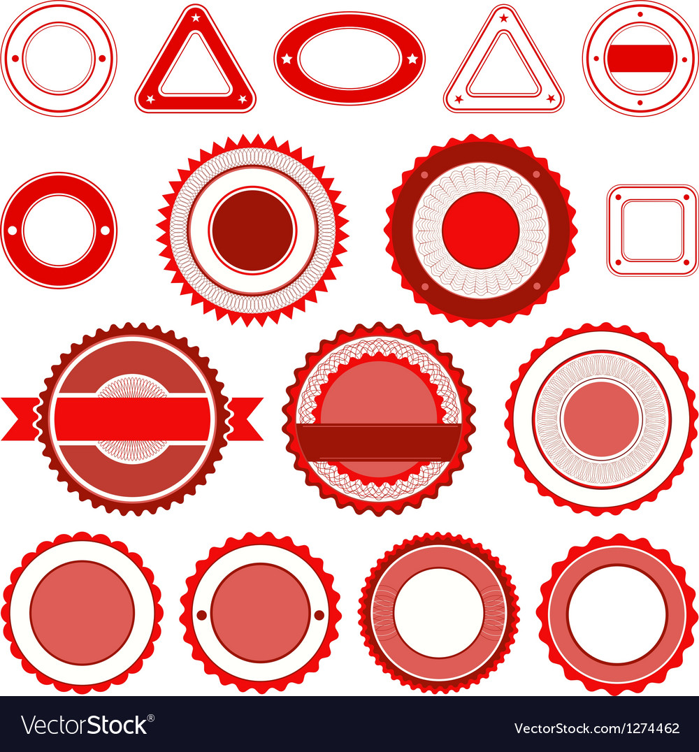 Set of badges labels and stickers in red vector | Price: 1 Credit (USD $1)