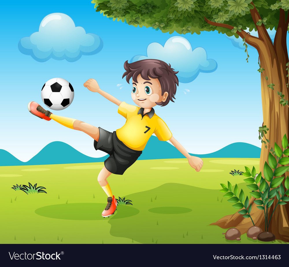 A boy playing soccer at the hill near the big tree vector | Price: 1 Credit (USD $1)