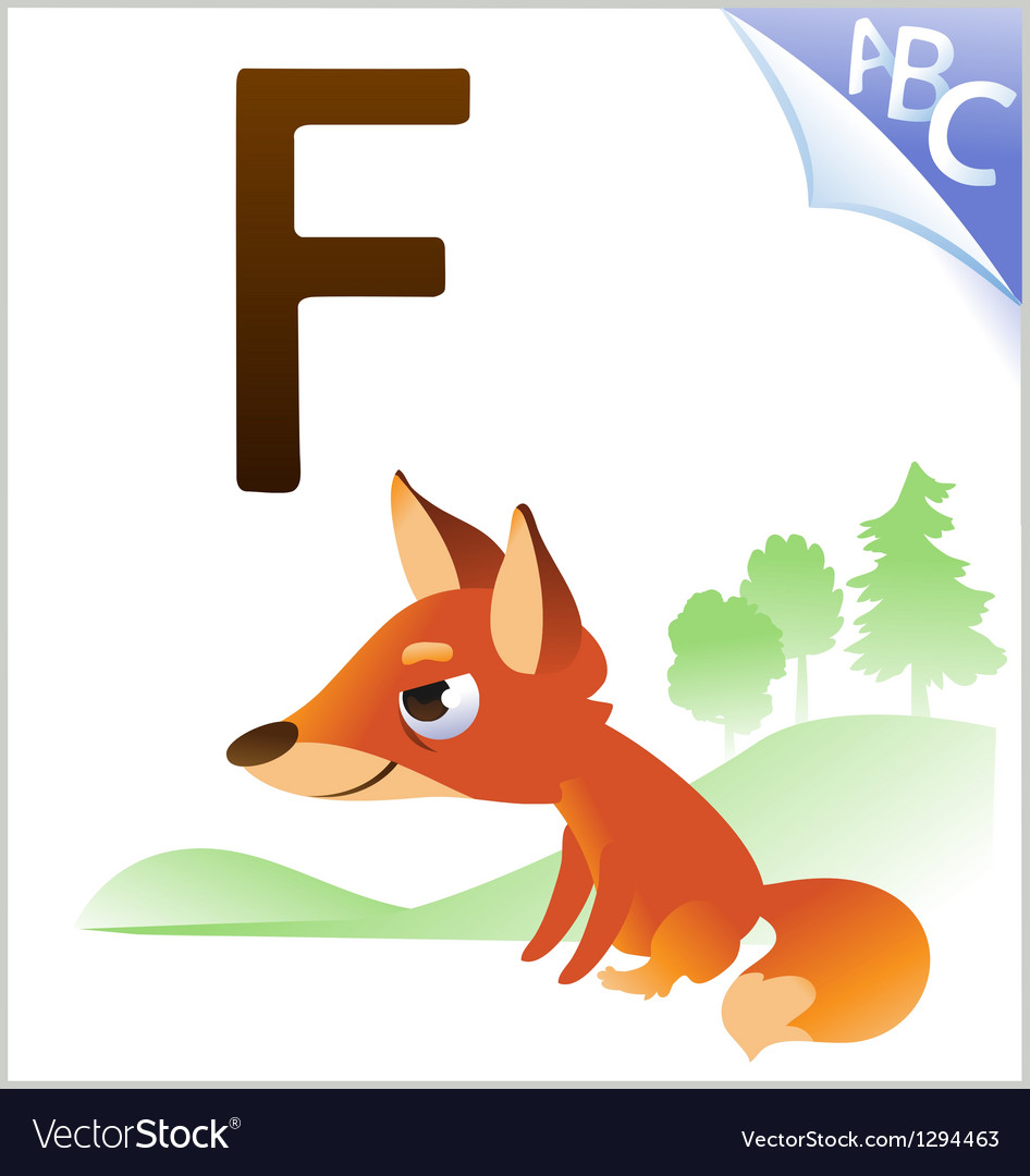 Animal alphabet for the kids f for the fox vector | Price: 1 Credit (USD $1)