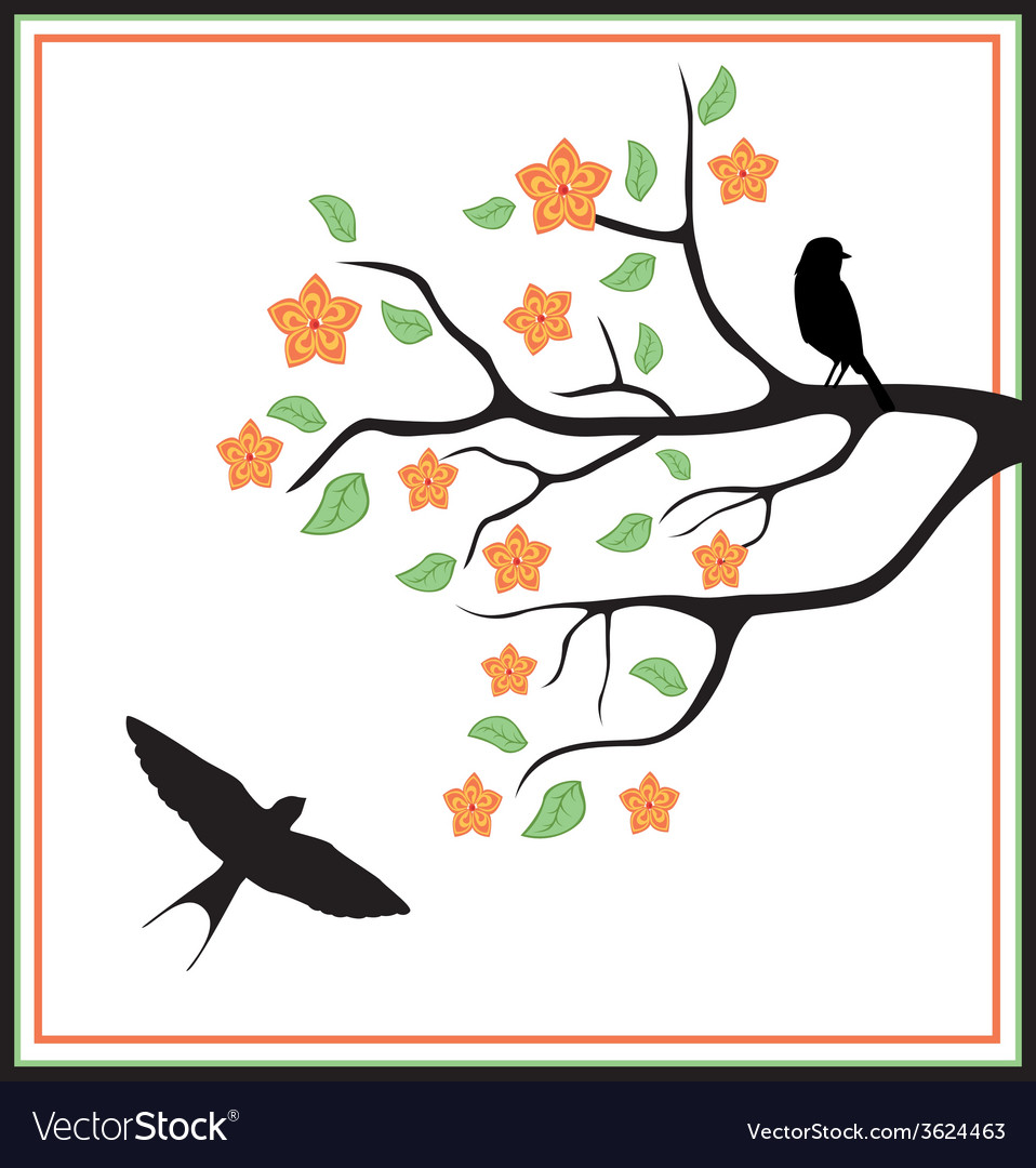 Birds in a tree with leaves and flowers vector   Price: 1 Credit (USD $1)