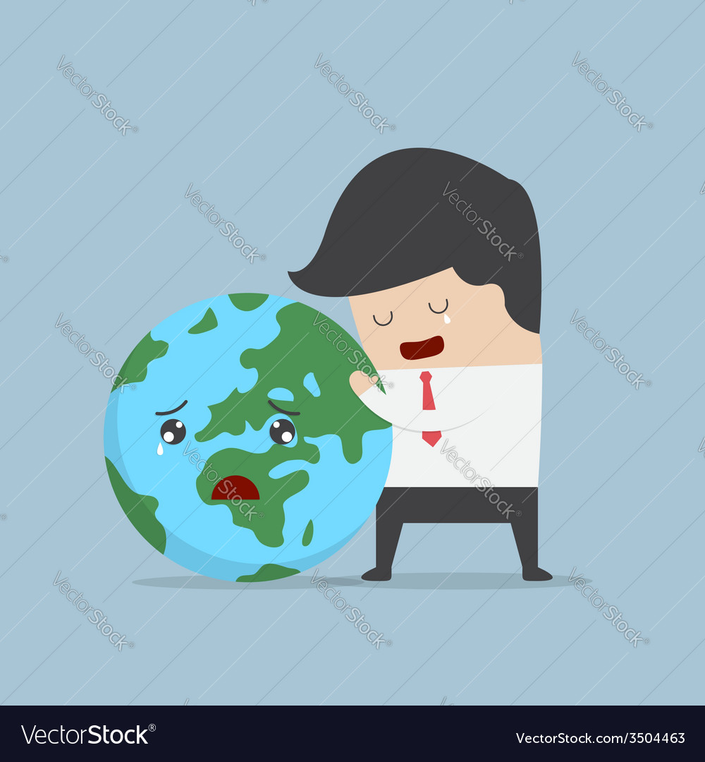 Businessman hug the world vector | Price: 1 Credit (USD $1)