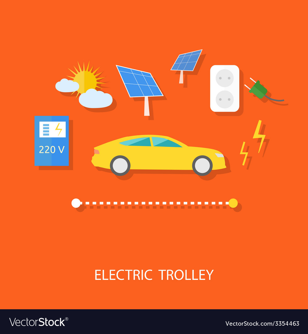 Eco concept of electric trolley and eco energy vector | Price: 1 Credit (USD $1)